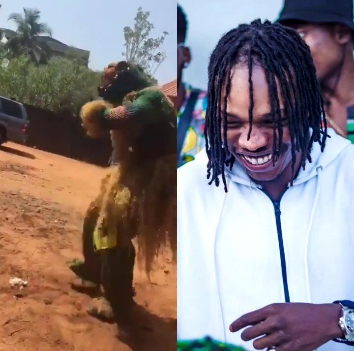 Adorable Video of a Masquerade Dancing to Naira Marley's Song for N200