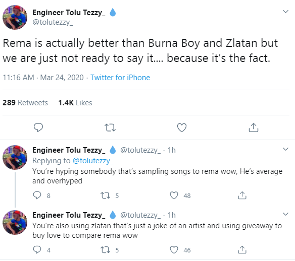 """Rema is actually better than Burna Boy and Zlatan"" – Twitter User"