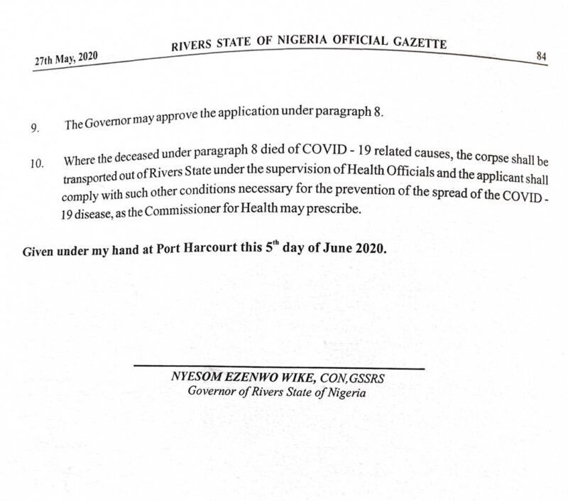 Rivers State Government Executive Order Prescribing Guidelines for the Conduct of Public Burials