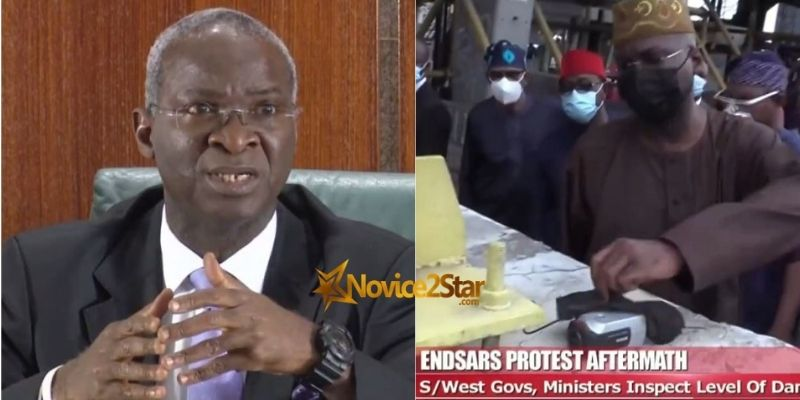 """#EndSARS: Nigerians React As Babatunde Fashola Discovers A """"Mysterious"""" Camera On The Scene Of The #LekkiMassacre"""